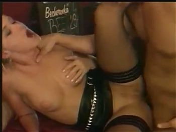 SANDY STYLE in black stockings gets fucking hard